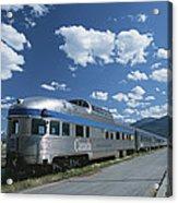 Via Rail Canada Train Waiting At Jasper Acrylic Print