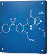 Viagra Molecular Structure Blueprint Acrylic Print by Nikki Marie Smith