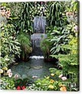 Victorian Garden Waterfall - Digital Art Acrylic Print