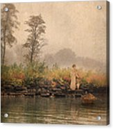 Victorian Lady By Row Boat Acrylic Print