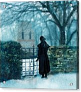 Victorian Woman At The Churchyard Gate Acrylic Print