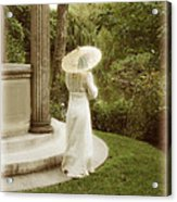 Victorian Woman In Garden With Parasol Acrylic Print