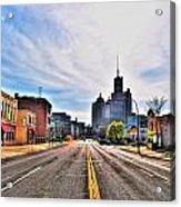 View Down Broadway Into Downtown Buffalo Ny Acrylic Print