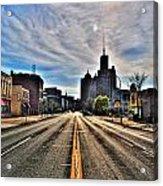 View Down Broadway Into Downtown Buffalo Ny Vert Acrylic Print