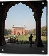 View From Inside The Red Fort With Tourist Acrylic Print