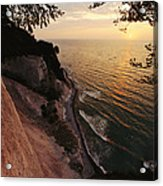 View Looking Down Cliffs At Sunset Acrylic Print