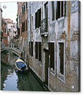 View Of A Canal In A Quiet Residential Acrylic Print