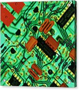 View Of A Circuit Board From An Alarm System Acrylic Print by Chris Knapton