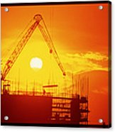 View Of A Construction Site At Sunset Acrylic Print
