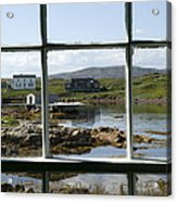 View Of A Harbor Through Window Panes Acrylic Print