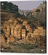 View Of A Number Of Nabataean Tombs Acrylic Print by Annie Griffiths