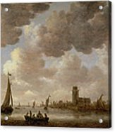 View Of Dordrecht Downstream From The Grote Kerk Acrylic Print