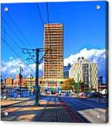 View Of Downtown Buffalo From The Tracks Acrylic Print