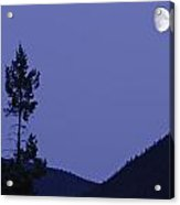 View Of Moon And Mountains, Gaspesie Acrylic Print