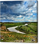 View Of River With Storm Clouds Acrylic Print