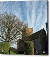 View Of St Mary Church And Clouds In Dover Castle Acrylic Print