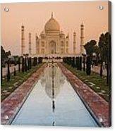 View Of Taj Mahal Reflecting In Pond Acrylic Print