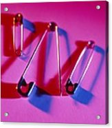 View Of Three Safety Pins Acrylic Print