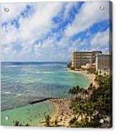 View Of Waikiki And Beach Acrylic Print