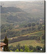 View Over The Tuscan Hills From San Gimignano Italy Acrylic Print