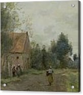 Village Street In The Morning Acrylic Print by Jean Baptiste Camille Corot