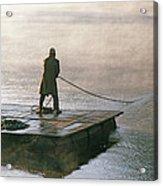 Villager On Raft Crosses Lake Phewa Tal Acrylic Print