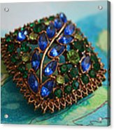 Vintage Blue And Green Rhinestone Brooch On Watercolor Acrylic Print