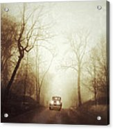 Vintage Car On Foggy Rural Road Acrylic Print by Jill Battaglia