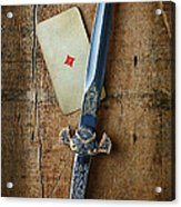 Vintage Dagger On Wood Table With Playing Card Acrylic Print