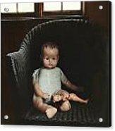 Vintage Dolls On Chair In Dark Room Acrylic Print by Sandra Cunningham