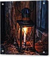 Vintage Lantern In A Barn Acrylic Print by Jill Battaglia