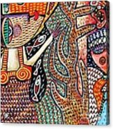 Vintage Mermaid And Wisdom Coral Angel Acrylic Print