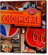Vintage Neon Sign Oldsmobile Acrylic Print