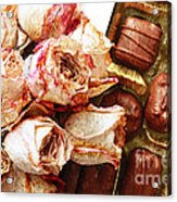 Vintage Roses And Chocolates Painterly Acrylic Print