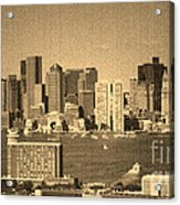 Vintage Style Boston Skyline 2 Acrylic Print