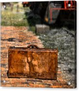 Vintage Suitcase By Train Acrylic Print