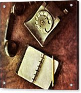 Vintage Telephone And Notebook. Acrylic Print