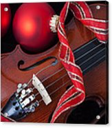 Violin And Red Ornaments Acrylic Print