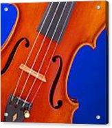 Violin Isolated On Blue Acrylic Print