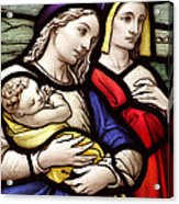 Virgin Mary And Baby Jesus Stained Glass Acrylic Print