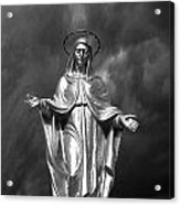 Virgin Mary And The Thunderstorm Bw Acrylic Print