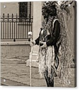 Voodoo Man In Jackson Square New Orleans- Sepia Acrylic Print