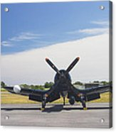 Vought F4u Corsair Fighter Plane On Runway Canvas Photo Poster Print Acrylic Print