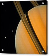 Voyager 1 Photograph Of Saturn & Two Of Its Moons Acrylic Print