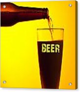 Waiter Pouring Dark Beer Acrylic Print by Anna Om