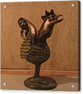 Wakeup Call Rooster Bronze Sculpture With Beak Feathers Tail Brass And Opaque Surface  Acrylic Print