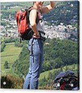 Walker Onlooking Derwent Water Acrylic Print