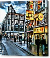 Walking Down The Street Of Amsterdam Acrylic Print
