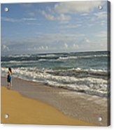 Walking In The Water At  Anahola Beach Acrylic Print