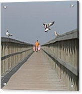 Walking Over The Bridge Acrylic Print
